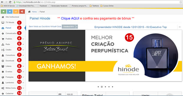 Dentro do Escritório Virtual Hinode
